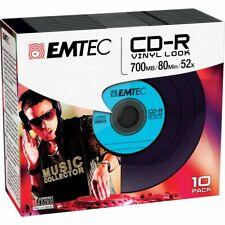 1x10 EMTEC CD-R 700MB 80min 52x Vinyl SLIM ECOC801052SLVY NEU (world*) 005-821°