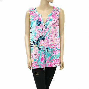 Lilly Pulitzer Essie Tank Blouse Top Smocked Floral Printed Cotton XL New 222782