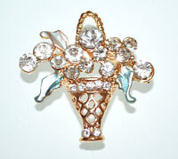 BROCHE mujer joya oro cristales bouquet flores verde strass brooch брошь CC8