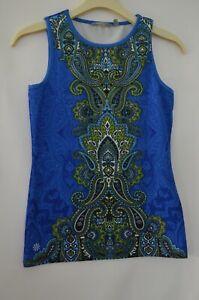 Athleta Size 2XS Sleeveless Blue/Green/Black and White Paisley Top