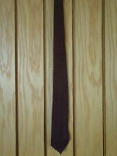Gents CHALLIS Burgundy Hand Block Printed Tie GRENVILLE Wool Made In England