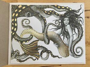 Mermaid and Octopus Original Wall Art Decor Gold Foil Home Nautical Gift