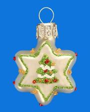 MINI WHITE STAR W/ CHRISTMAS TREE EUROPEAN BLOWN GLASS X-MAS ORNAMENT