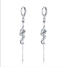 Sparkly 18K White Gold F Chandelier Earrings Made With Swarovski Crystal Bridal