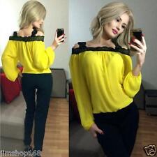Womens Sexy Off Shoulder Long Sleeve Shirt Lace Chiffon Blouse Loose Top T Shirt