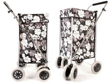 Black White Flower 6 Wheeled Large Shopping Trolley With Adjustable Handle