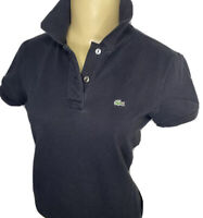 Lacoste Polo Shirt Mesh Pique Short Sleeve Black Alligator Logo Women Sz 38