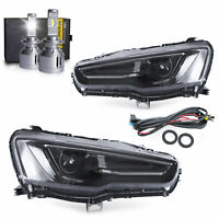 Dual Beam Projector Headlights ALL BLACK+H7 LED Bulbs ONE SET for 08-17 Lancer