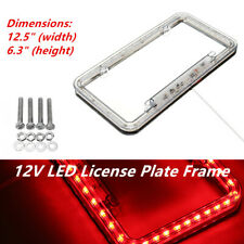 54 LED Lighting Acrylic Plastic Car Trucks SUV License Plate Cover Frame Red 1PC