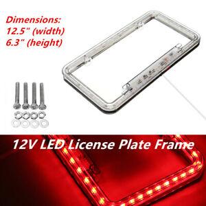 54 LED Lighting Acrylic Plastic Car Trucks SUV License Plate Cover Frame Red 1PC