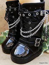 """BLACK Patent Tall Rocker DOLL BOOTS SHOES fits 18"""" AMERICAN GIRL Doll Clothes"""