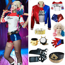 Halloween Set Costume Suicide Squad Harley Quinn T-shirt Top Coats Jacket Shorts