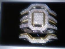 14K & SS  ROUND DIAMOND WEDDING ENGAGEMENT RING  3 PC SET  SIZE 4-7 + BONUS