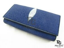 PELGIO Real Genuine Stingray Skin Leather Women's Clutch Wallet Long Purse Blue