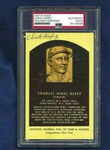 Chick Hafey Cardinals Reds Baseball Autographed HOF Plaque Postcard PSA SLABBED