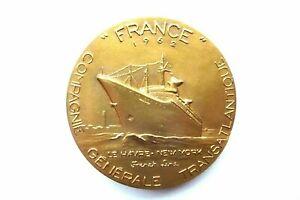 Médaille Bronze Compagnie Générale Transatlantique 1962 le Havre New York