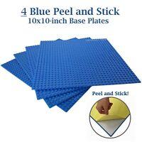 "4 Blue 10"" x 10"" Peel and Stick Base plates Self Adhesive Brick Building Plates"