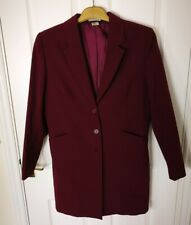 Womens Ladies Long Blazer Coat Size 14 Cherry Long Sleeve Jacket Top G
