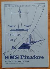 Trial By Jury and H.M.S. Pinafore programme Solihull Library Theatre 1983