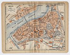 1926 ORIGINAL VINTAGE CITY MAP OF ARLES / PROVENCE / FRANCE