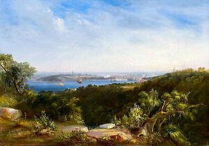Conrad Martens - View of Sydney Harbour showing Sydney Cove, Art Canvas Print
