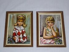 Pr Vtg Mid Century Big Eye Waif Harlequin Girl Prints Framed under Glass Kitschy