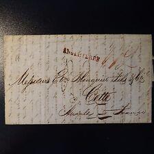 1825 LETTRE COVER MARQUE POSTALE ANGLETERRE EN ROUGE SUR PRIX COURANT DE LONDRES