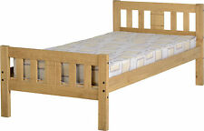Rio 3ft Single Bed Frame in Distressed Waxed Pine Wood - Next Day Delivery