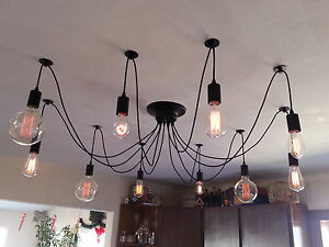 Edison 10 Wire Chandelier - Adjustable Pendant hanging light