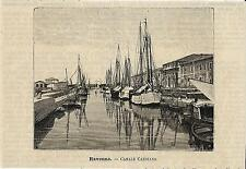 Stampa antica RAVENNA Canale Candiano con barche Romagna 1891 Old antique print