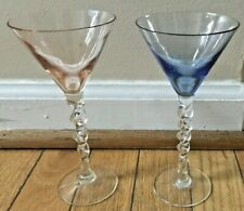 Beautiful Set of 2 Vintage Colored Twisted Stem Cocktail Martini Glasses Barware