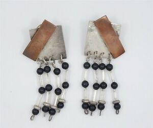 VINTAGE BLACK STONE BEADS STERLING & COPPER MODERNIST ART EARRINGS ~ 2.25""