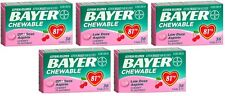 5 Pack Bayer Chewable Low Dose Child Aspirin 81mg Tablets Cherry 36 Tablets Each