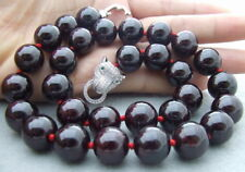 Natural 13mm Round Garnet Necklace -cz Leopard head clasp