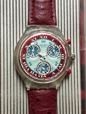 Wristwatch SWATCH Chrono WINDMILL (SCK103)-Full working! Red Leather-Chronograph
