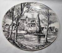 Vintage Johnson Brothers Dream Town Black Colourway Oval Plate Made In England