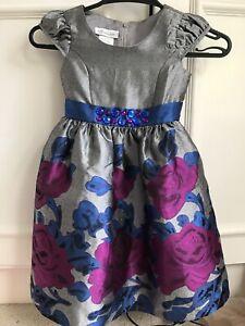 Bonnie Jean Girls Occasion Party Dress Grey Purple Blue Flower Detail Aged 4 yrs