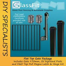 Aluminium Pool Fence Gate Package Black in ground posts Pool Fence Compliant