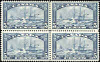 Mint H/NH Canada 5c 1933 Block of 4 F-VF Scott #204 Royal William Issue Stamps