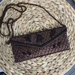 Beaded Satin Evening Shoulder Bag Brown
