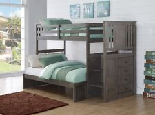 Gray Bunk Beds for Boys or Girls in Twin Over Full