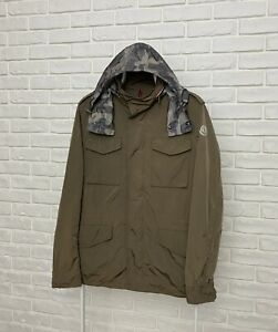 Authentic Men's Moncler Mathieu Jacket Olive Bomber Logo Full Zip Hooded Size 3