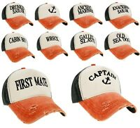 Unisex Baseball Cap Boating Hat Captain,Skipper,Wreck,Pirate,Drunk Sailor Orange