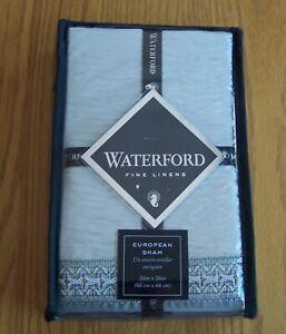 Waterford Fine Linens Jonet European Pillow Sham 26in x 26in Cream/Aqua NEW