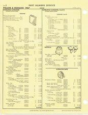 1967 Dodge Polara Monaco Factory OEM Part Number List gtc