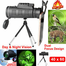 40X60 Zoom Monocular Optical Lens Telescope + Tripod + Clip For Mobile Phone