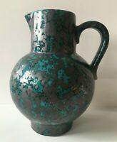 SCHEURICH Vase Keramik petrol türkis Lüsterglasur  Form 418  22 cm 60er 70er WGP