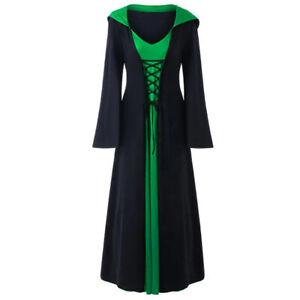 Plus Size Womens Medieval Renaissance Gothic Cloak Halloween Hoodie Fancy Dress#