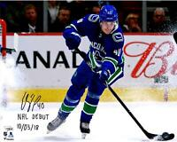 """Elias Pettersson Canucks Signed 16"""" x 20"""" Skating Photo & NHL Debut 10/3/18 Insc"""