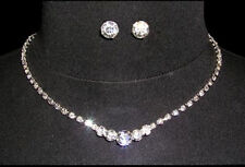 BRIDAL/BRIDESMAID CLUSTERD DROP NECKLACE &EARRING SET WEDDING JEWELLERY SET,GIFT